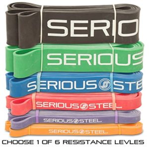 Serious-Steel-Assisted-Pull-Up-Band-Resistance-Stretch-Band-Powerlifting-Bands-Pull-up-and-Band-Starter-e-Guide-INCLUDED-Single-unit-41-inch-0