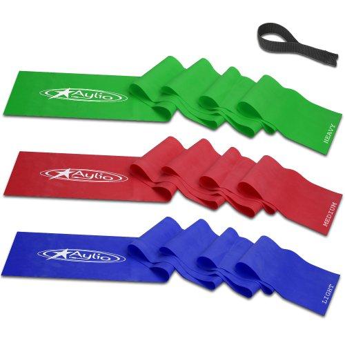 Aylio 3 Flat Stretch Bands Exercise Set (Light, Medium