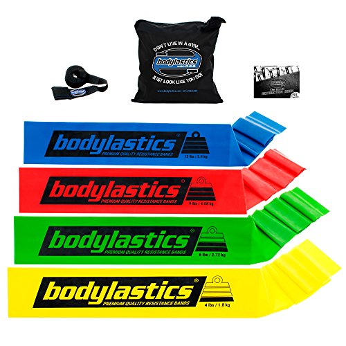 BODYLASTICS PREMIUM FLAT Resistance Bands Set. Includes 4