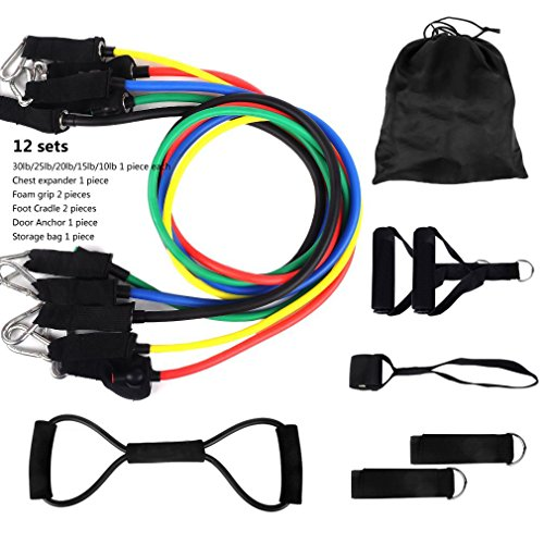 Resistance bands set with door anchor ankle wrist strap for 10 minute trainer door attachment