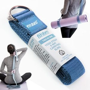 2-IN-1-Premium-Lightweight-Yoga-Stretch-Strap-Belt-Mat-Carrier-Sling-6-foot-Long-100-Cotton-Perfect-Yoga-Accessory-for-Women-Men-Beginners-to-Pros-Fits-All-Yoga-Mats-Maintain-Poses-0