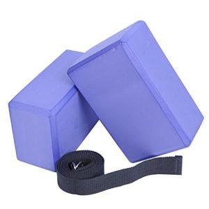 Veda-Yoga-Foam-Blocks-Set-of-2-plus-strap-with-Metal-D-Ring-Standard-Studio-Size-9-x-6-x-4-0