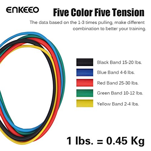 Enkeeo Resistance Band Set Exercise Bands Resistance Tube With Door
