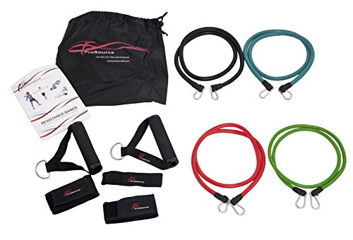 Prosource Fit Stackable Resistance Bands 11-Piece Set with Extra Large Handle... Fitness & Jogging